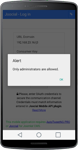 Login - Only administrators are allowed