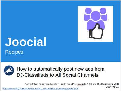 Joocial Recipes: How to automatically post new ads from DJ-Classifieds