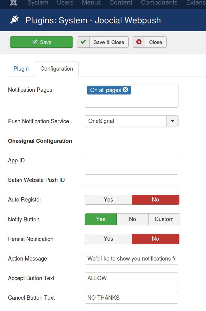 Plugins: System - Joocial Webpush - OneSignal