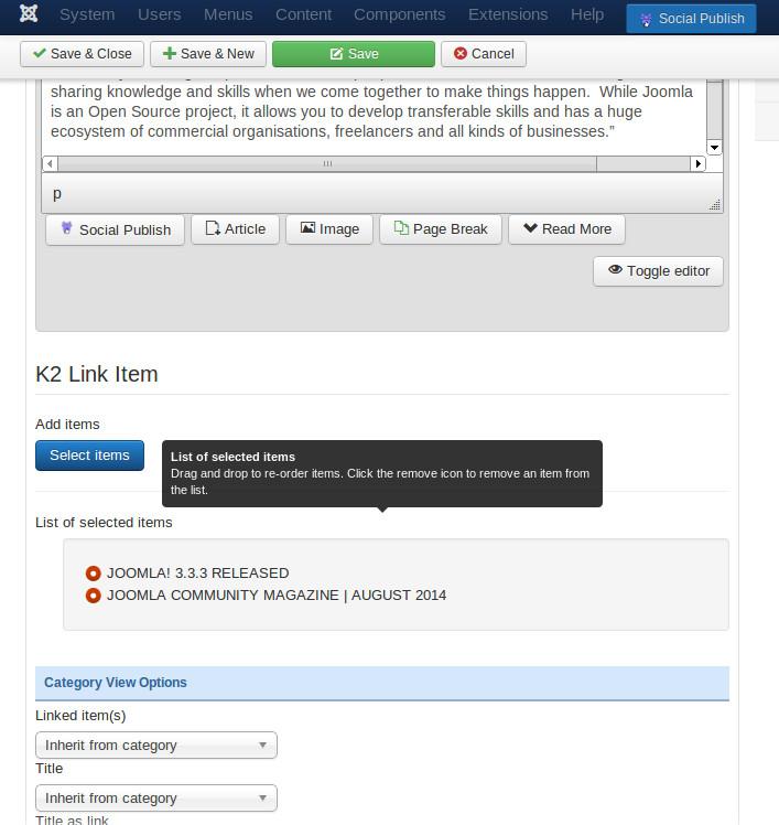 K2 Link Item management area