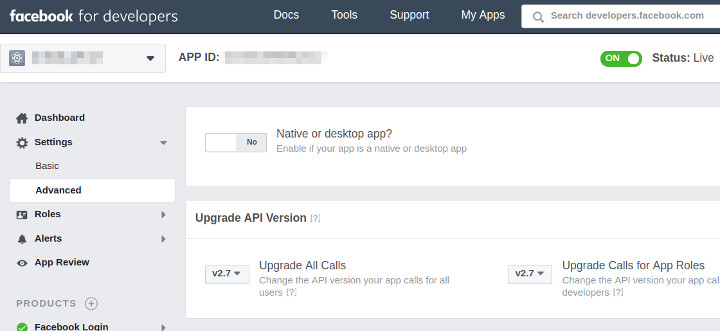 Which is the API version of my app