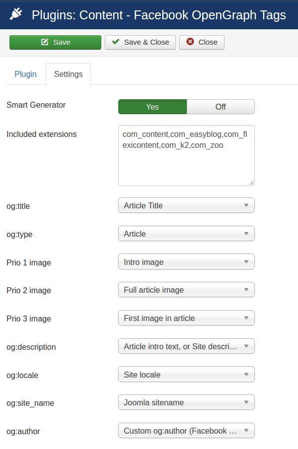 AutoTweet Facebook OpenGraph Tags plugin - Configuration