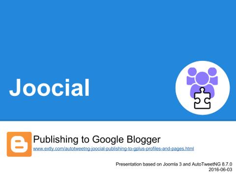 Joocial - Publishing to Google Blogger
