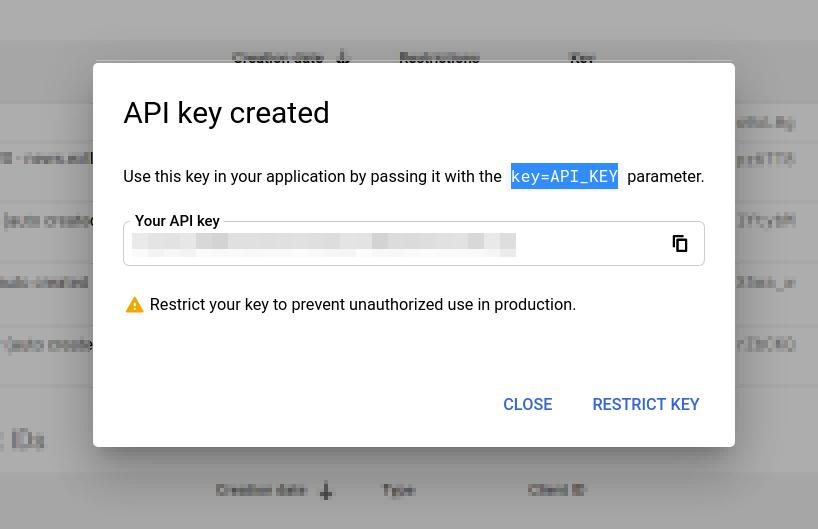 CREATE CREDENTIALS / API Key