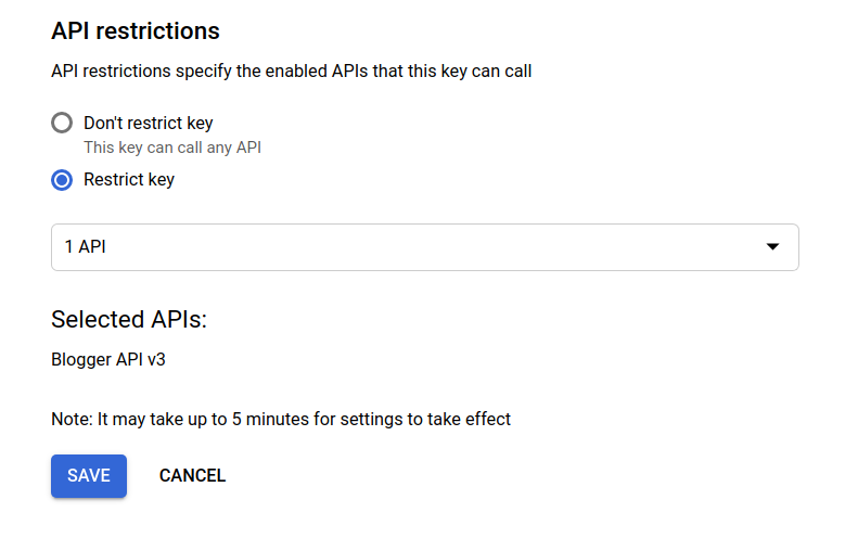 Restrict the API Key to your site and Blogger API