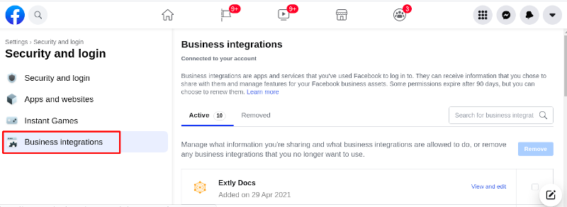 Account Settings / Business Integrations