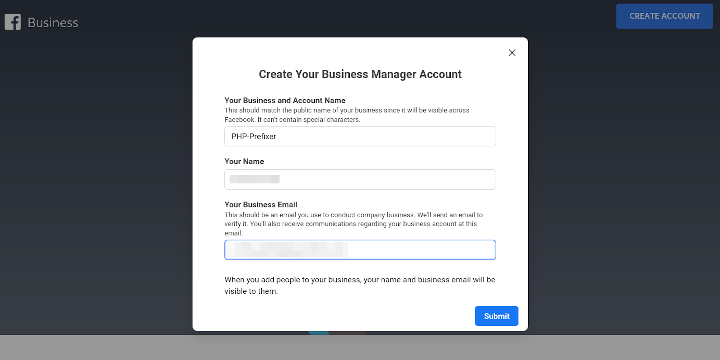 Business account
