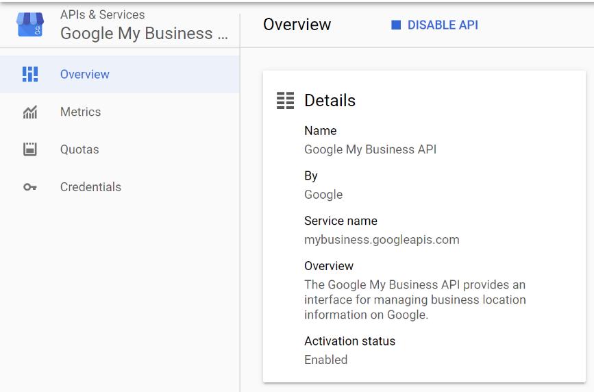 Enable Google My Business API