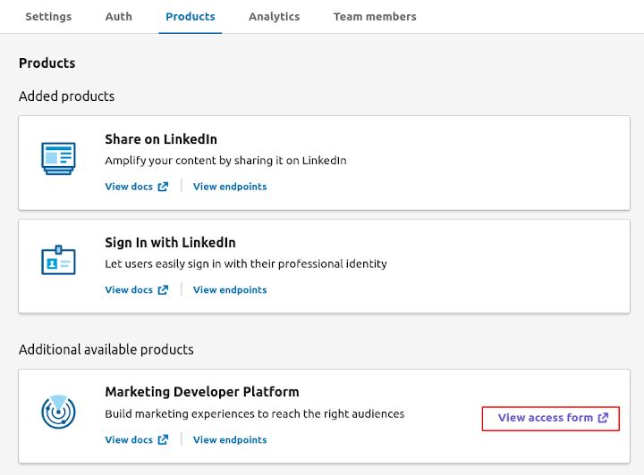 LinkedIn Marketing Developer Program - Marketing Developer Platform