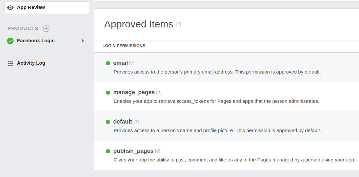 Facebook App Review Approved Items