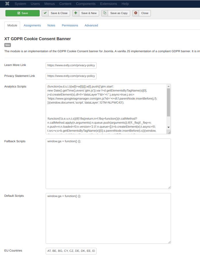 XT GDPR Cookie Consent Banner - Configuration