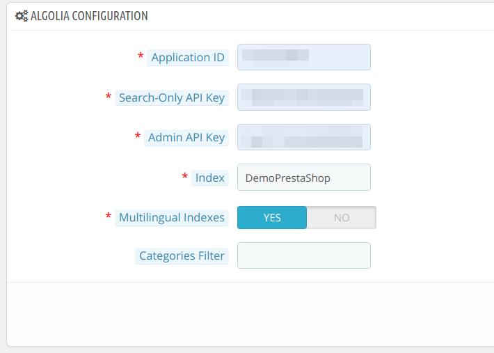 Configure Algolia Search in the PrestaShop module