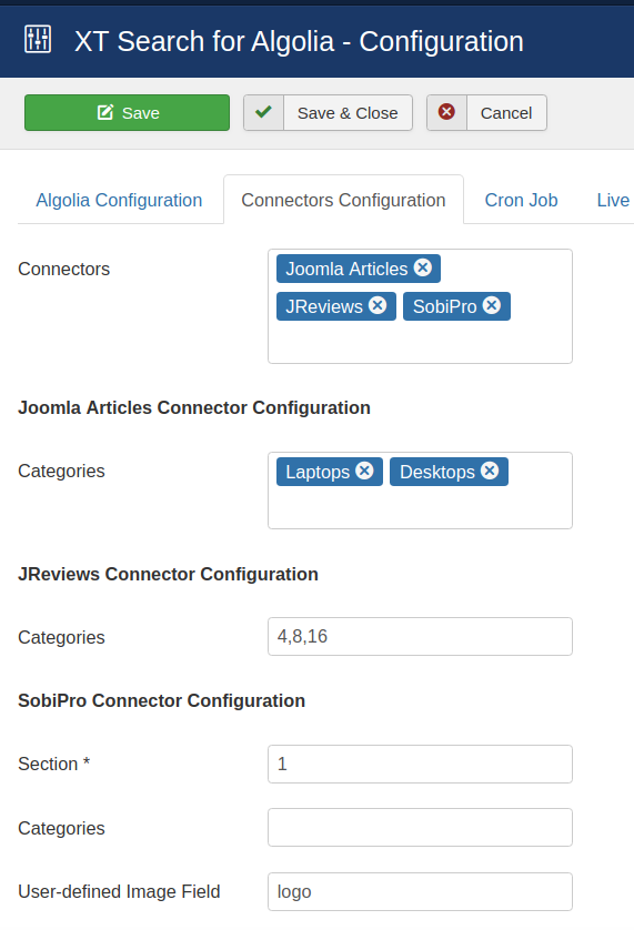 Configure the content connectors
