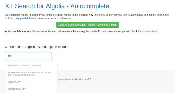 Joomla - Autocomplete Module for Algolia Search