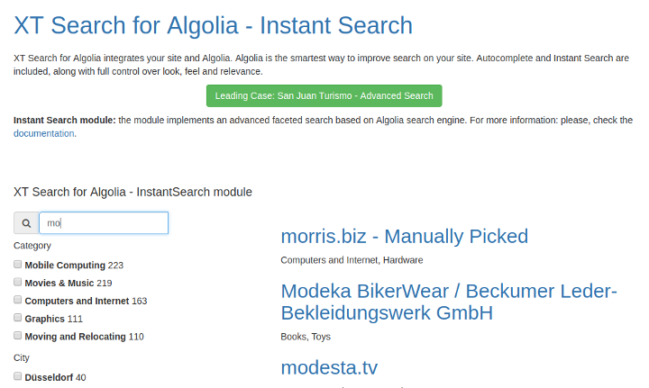 Instant Search Module