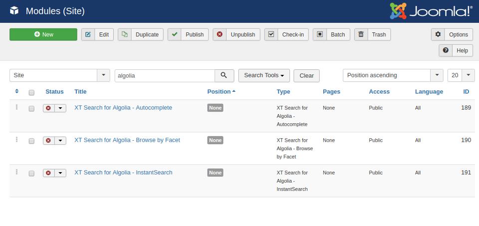XT Search Modules
