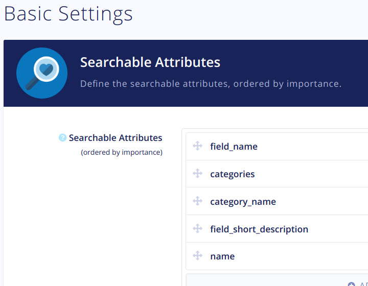 Algolia Searchable Fields