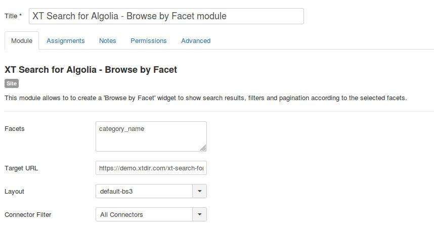 Browse by Facet module Configuration