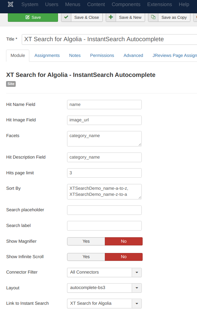 Sample Module Configuration of the Instant Search Autocomplete